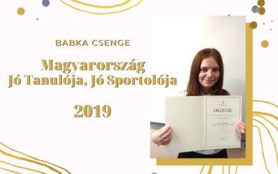 Magyarország Jó Tanulója, Jó Sportolója – Babka Csenge